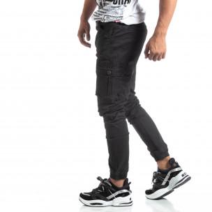 Ανδρικό μαύρο παντελόνι σε ροκ στυλ με Cargo τσέπες