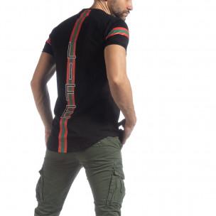 Ανδρική μαύρη κοντομάνικη μπλούζα More Life Stripe