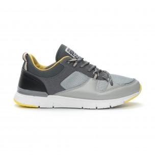 Ανδρικά γκρι αθλητικά παπούτσια με κίτρινες λεπτομέρειες  2