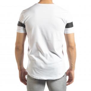 Ανδρική λευκή κοντομάνικη μπλούζα μακρύ μοντέλο 2