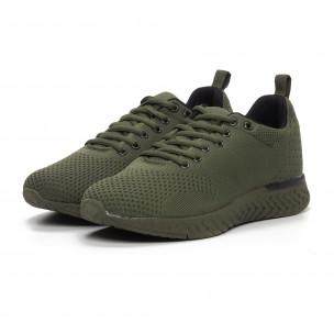 Ανδρικά πράσινα πλεκτά αθλητικά παπούτσια  2