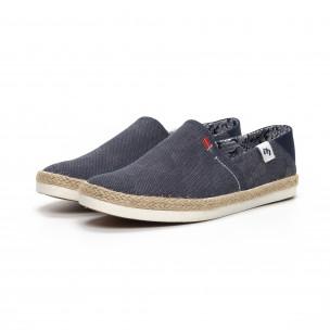 Ανδρικά γαλάζια Slip-on sneakers τύπου εσπαντρίγιες 2