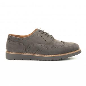 Casual ανδρικά γκρι σουέτ παπούτσια Wingtip
