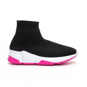 Γυναικεία μαύρα αθλητικά παπούτσια καλτσάκι με Chunky σόλα