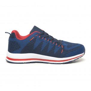 Ανδρικά υφασμάτινα αθλητικά παπούτσια σε μπλε και κόκκινο 2
