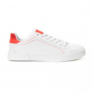 Ανδρικά λευκά Basic sneakers με κόκκινες λεπτομέρειες