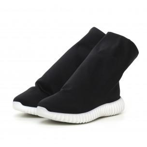 Γυναικεία μαύρα μποτάκια από νεοπρέν τύπου κάλτσα 2