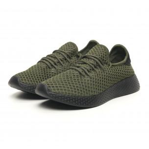 Ανδρικά πράσινα αθλητικά παπούτσια Mesh με μαύρη φτέρνα 2