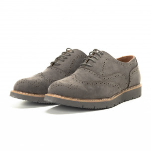 Casual ανδρικά γκρι σουέτ παπούτσια Wingtip  2