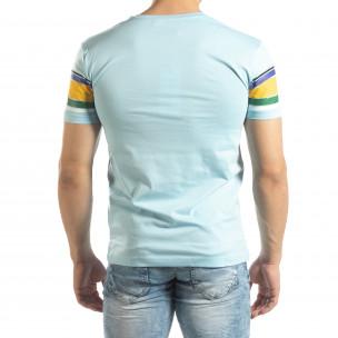 Ανδρική γαλάζια κοντομάνικη μπλούζα με πολύχρωμες ρίγες  2