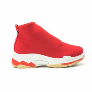 Γυναικεία κόκκινα Slip-on sneakers από νεοπρέν ύφασμα