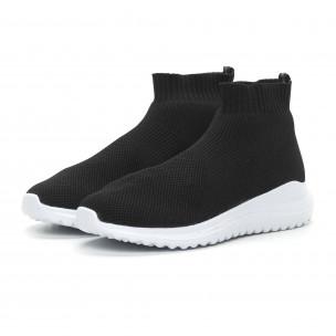 Ανδρικά μαύρα sneakers κάλτσα με τρακτερωτή σόλα  2