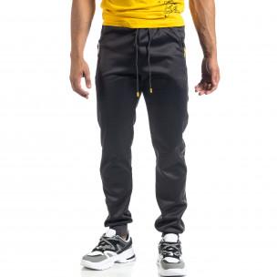 Ανδρική γκρι Jogger με πριντ ρίγα Black Sport 2