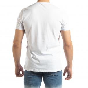 Ανδρική λευκή κοντομάνικη μπλούζα με νεον απλικέ  2