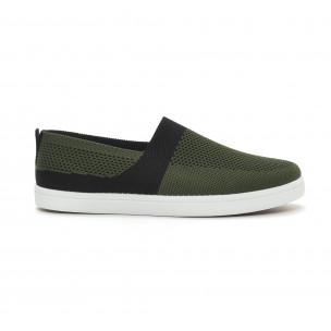 Ανδρικά πράσινα πλεκτά sneakers με μαύρες λεπτομέρειες
