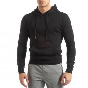 Ανδρικό μαύρο φούτερ Basic με τσέπη καγκουρό 2