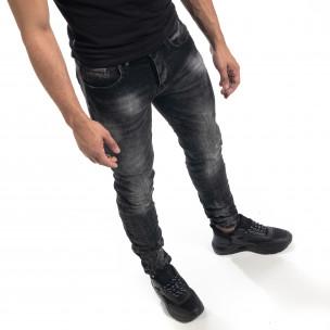 Ανδρικό μαύρο τζιν Washed Slim fit 2
