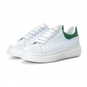 Ανδρικά λευκά αθλητικά παπούτσια με πράσινη λεπτομέρεια  2