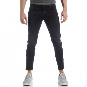 Ανδρικό μαύρο τζιν Slim fit ελαστικό μοντέλο  2