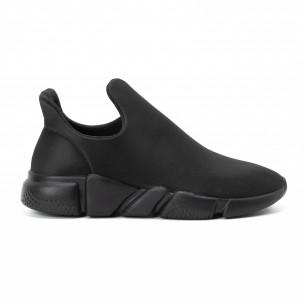 Ανδρικά μαύρα slip-on αθλητικά παπούτσια All black από νεοπρέν