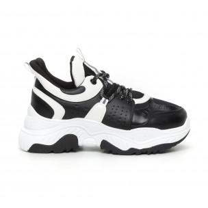 Γυναικεία Chunky αθλητικά παπούτσια μαύρο και λευκό