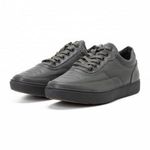 Ανδρικά γκρι sneakers με διακοσμητικές τρύπες  2
