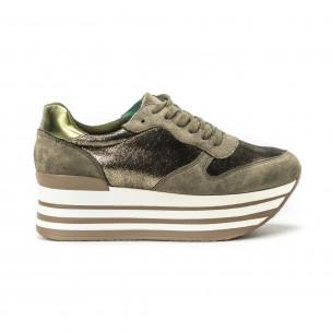 Γυναικεία πράσινα sneakers παραλλαγής με πλατφόρμα