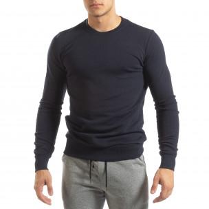 Ανδρική σκούρα μπλε βαμβακερή μπλούζα Basic  2