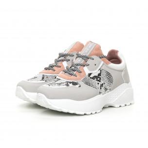 Γυναικεία αθλητικά παπούτσια σε γκρι και ροζ ελαφρύ μοντέλο 2