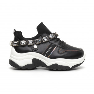 Γυναικεία μαύρα αθλητικά παπούτσια με στρασάκια Fashion&Bella 2