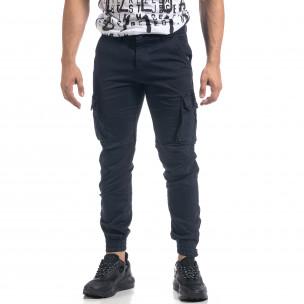Ανδρικό μπλε παντελόνι cargo με φλις 2