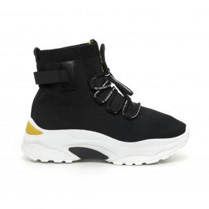 Γυναικεία μαύρα αθλητικά παπούτσια με κίτρινη λεπτομέρεια