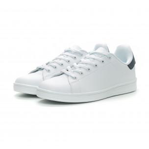 Ανδρικά Basic λευκά sneakers με μπλε λεπτομέρεια  2