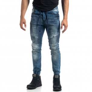 Ανδρικό μπλε τζιν Jogger σε ροκ στυλ