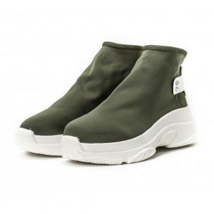Γυναικεία πράσινα sneakers χωρίς κορδόνια 2