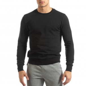 Ανδρική μαύρη βαμβακερή μπλούζα Basic  2