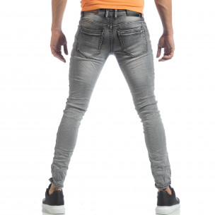 Ανδρικό γκρι Washed Slim Jeans τζιν  2