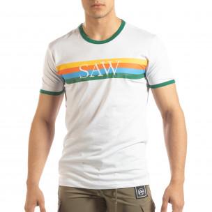 Ανδρική λευκή κοντομάνικη μπλούζα με πολύχρωμες ρίγες
