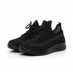 Ανδρικά μαύρα πλεκτά αθλητικά παπούτσια με διακόσμηση