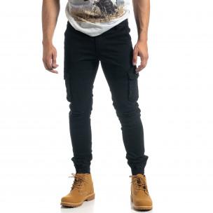 Ανδρικό μαύρο cargo παντελόνι σε ροκ στυλ  2