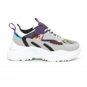 Γυναικεία Chunky αθλητικά παπούτσια με μωβ λεπτομέρειες