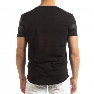 Ανδρική μαύρη κοντομάνικη μπλούζα μακρύ μοντέλο 2