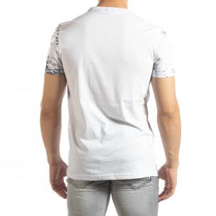 Ανδρική λευκή κοντομάνικη μπλούζα LIFE με πριντ  2