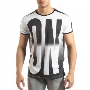 Ανδρική λευκή κοντομάνικη μπλούζα ON/OFF