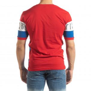 Ανδρική κοντομάνικη μπλούζα σε κόκκινο και μπλε  2