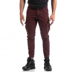 Ανδρικό μπορντό παντελόνι cargo τσαλακωμένο μοντέλο  2