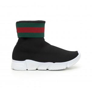 Γυναικεία  slip-on μαύρα αθλητικά παπούτσια τύπου κάλτσα με ρίγες  2