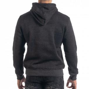 Ανδρικό μαύρο μελάνζ φούτερ New York με τσέπη καγκουρό  2