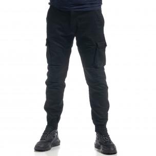 Ανδρικό μαύρο παντελόνι cargo με φλις J.Sette