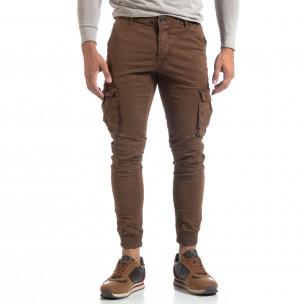 Ανδρικό καφέ παντελόνι cargo τσαλακωμένο μοντέλο  2